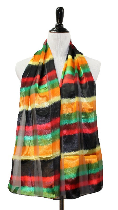 Black, Green, Red, and Yellow Satin Scarf ( 1009 )