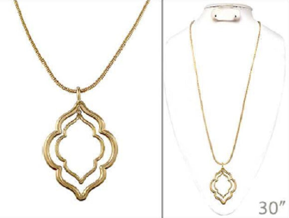 Worn Gold 2 Layer Moroccan Cut Out Design Long Necklace ( 1437 )