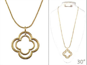 Worn Gold 2 Layer Quatrefoil Cut Out Design Long Necklace ( 1439 )