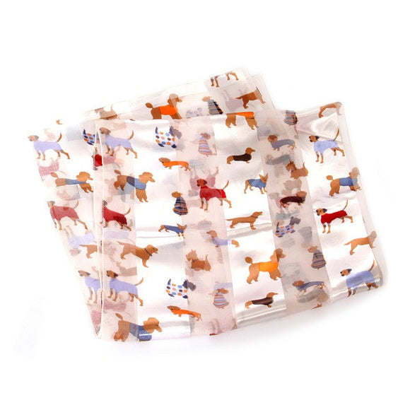 Silver Satin Scarf with Cute Dog Theme