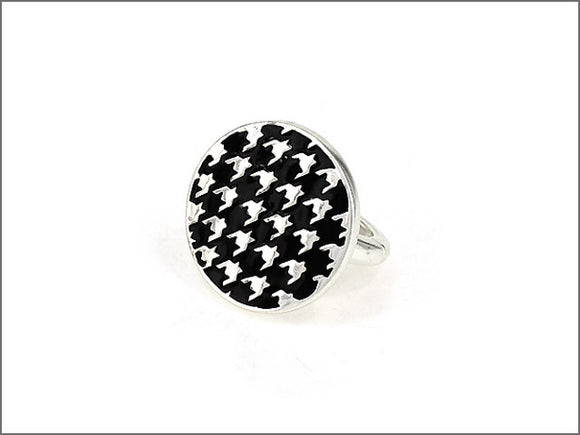 SILVER HOUNDSTOOTH STRETCH RING ( 0640 )