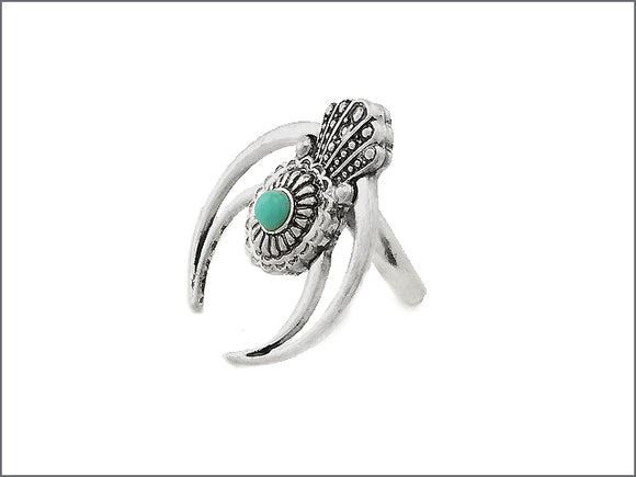 Antique Silver and Turquoise Squash Blossom Stretch Ring