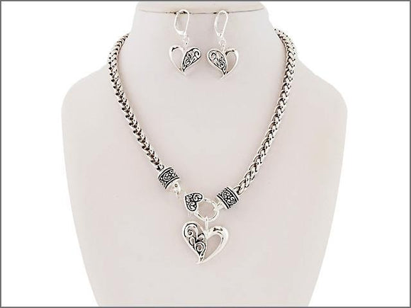 Open Filigree Heart Charm Necklace with Matching Earrings ( 04177 )