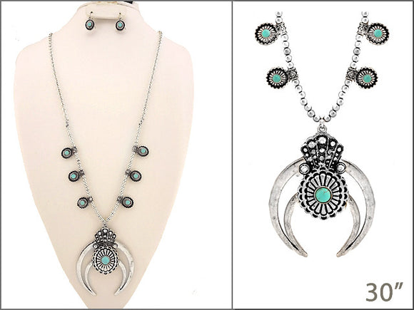 Burnish Silver and Turquoise Squash Blossom Necklace with Matching Earrings