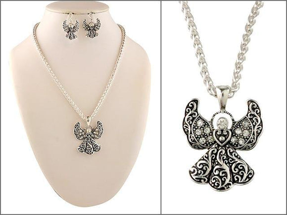 Filigree Angel Necklace Set ( 04535 )