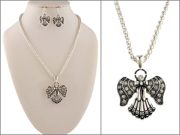 Filigree Angel Necklace with Matching Dangling Earrings ( 04537 )