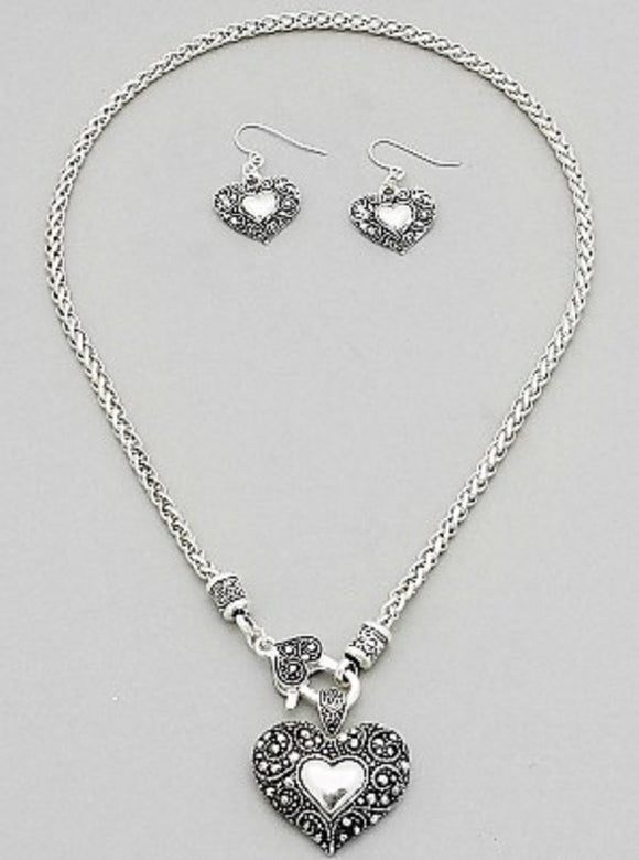 Silver Filigree Heart Textured Necklace Set ( 04317 )
