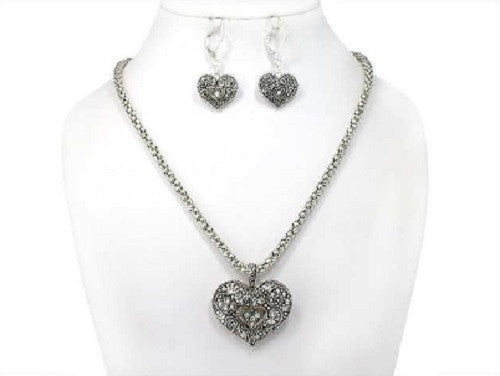 Silver Rhinestone Heart Necklace Set ( 04334 )