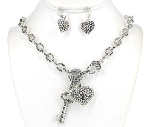 Silver Heart and Key Lock Rhinestone Charms Necklace Set ( 04371 )