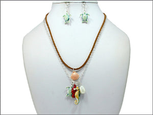 Brown Suede Necklace with Multi Color Sea Life Charms and Turtle Earrings ( 04374 )