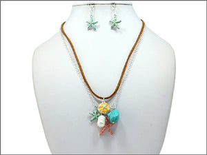 Brown Suede Necklace with Multi Color Starfish Charms and Matching Earrings ( 04375 )
