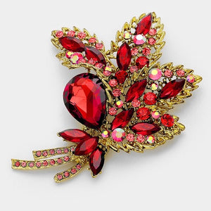 Gold and Red Floral Bouquet Design Brooch