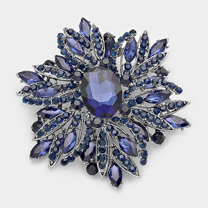 Large Navy Blue Rhinestone Brooch ( 1041 )