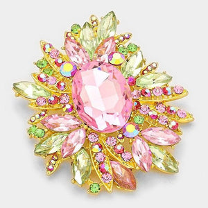 Pink and Green Rhinestone Brooch with Oval Stone