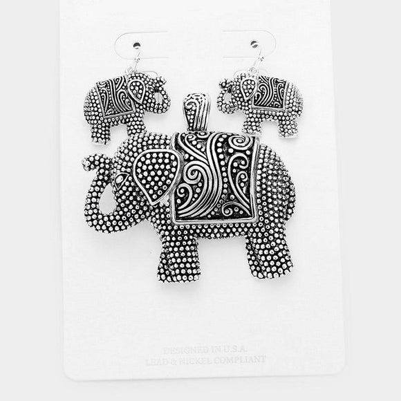 SILVER ELEPHANT PENDANT WITH EARRINGS ( 1666 )