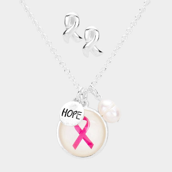 PINK RIBBON SILVER NECKLACE ( 04632 )