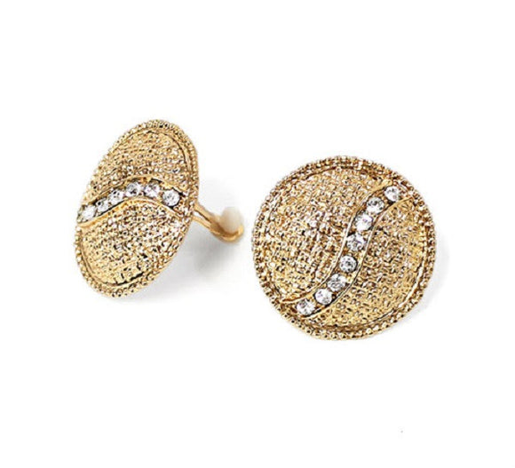 Round Gold Clip On Earrings with Clear Rhinestones