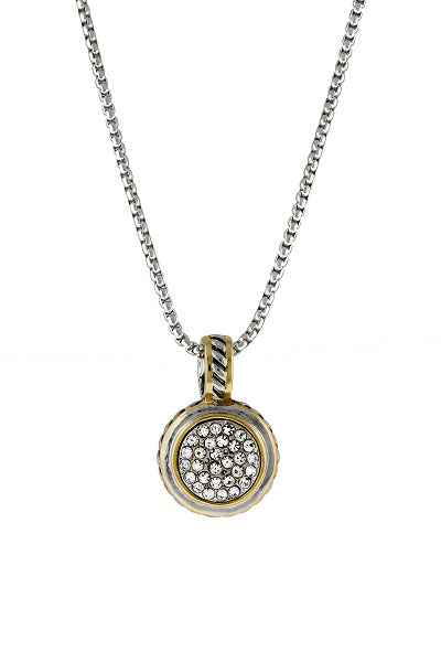 Two Tone Round Pave Necklace Rhodium Plated ( 6534 )