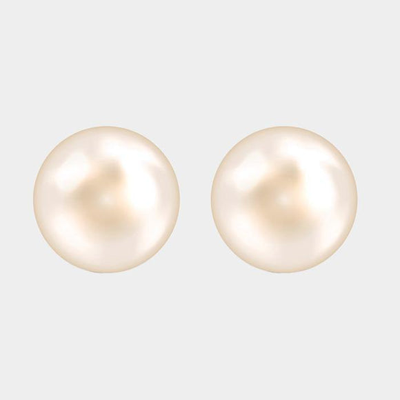 1 DOZEN 10mm CREAM PEARL STUD EARRINGS ( 1001 )