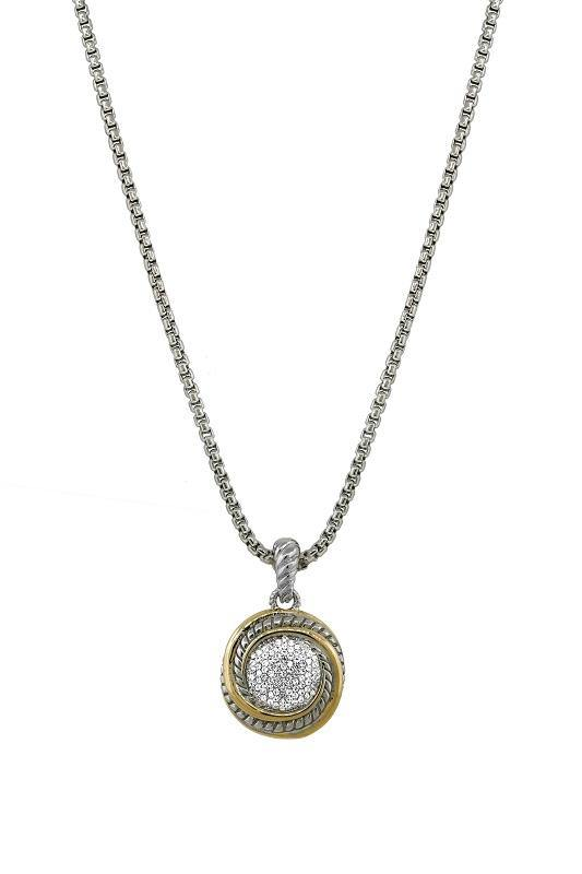 Silver Rhodium Plated Necklace with Two Tone Round CZ Pave Charm ( 7147 )