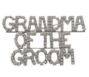 """GRANDMA OF THE GROOM"" Rhinestone Brooch ( 2016 ) - Ohmyjewelry.com"