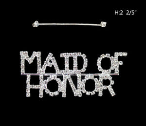 "Rhinestone ""MAID OF HONOR"" Brooch"