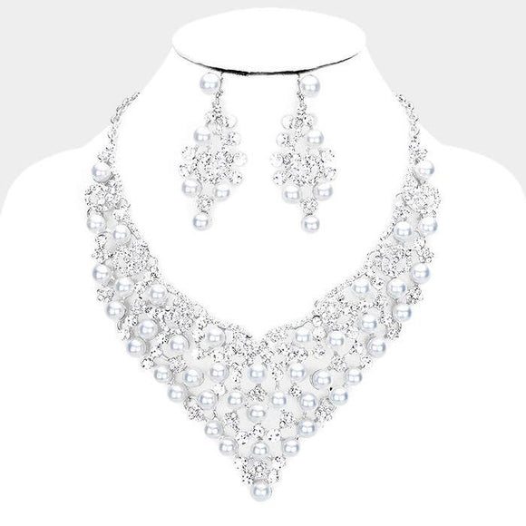 SILVER Necklace with Clear Rhinestones and WHITE Pearls Formal Set ( 014237 SWH )