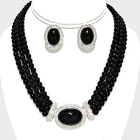3 Line BLACK Pearl Necklace Set with Oval Pendant and CLIP ON Earrings ( 13736 )