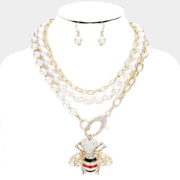 LAYERED PEARL AND GOLD BEE NECKLACE SET ( 2707 GDMT ) - Ohmyjewelry.com