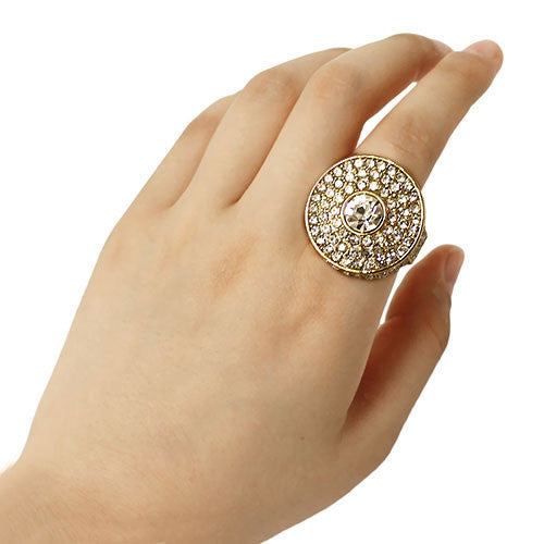 Big Gold Round Stretch Ring with Clear Crystals