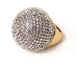 Large Gold Clear Rhinestone Dome Stretch Ring
