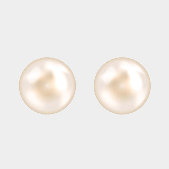 14mm Glass White Pearl Stud Earrings