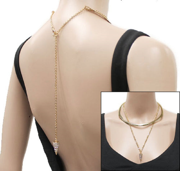 2 Layer Simple Gold Necklace with Rhinestone Cone Charms and Stud Earrings ( 1002 )