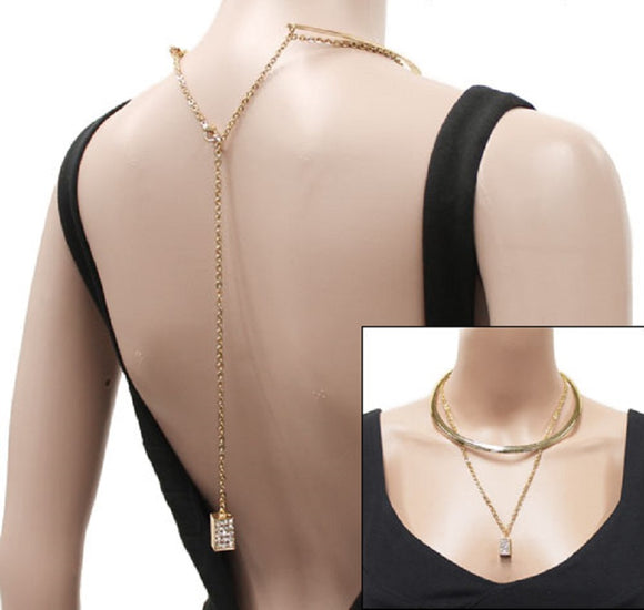 Simple Rectangle Pave Gold 2 Layer Necklace Set ( 1003 )