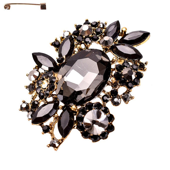 BLACK RHINESTONE BROOCH ( 10320 )