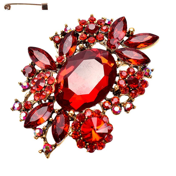 RED RHINESTONE BROOCH ( 10320 )