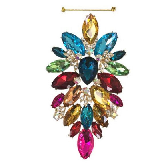 LARGE GOLD MULTI COLOR BROOCH ( 10515 )