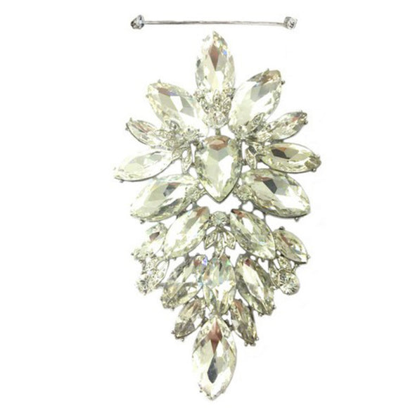 LARGE SILVER CLEAR BROOCH ( 10515 )