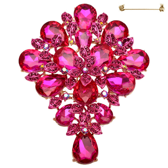 LARGE GOLD FLORAL BROOCH PENDANT FUCHSIA STONES ( 10716 )