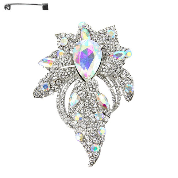 SILVER BROOCH WITH CLEAR AND AB RHINESTONES ( 5857 )