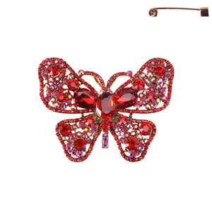 "3 1/2"" Large Red Butterfly Brooch with Gold Accents ( 8196 )"