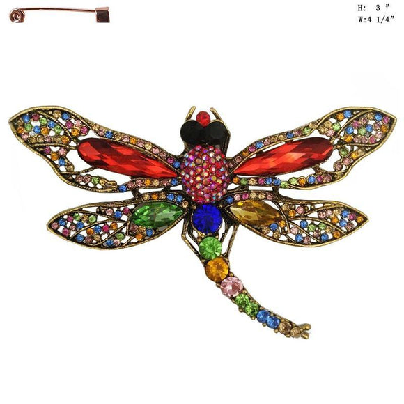 Large Multi Color Rhinestone Dragonfly Brooch ( 8592 )