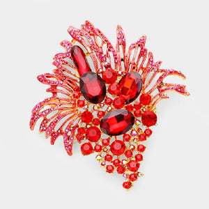 "4"" Red Rhinestone Brooch with Gold Accents ( 8593 )"