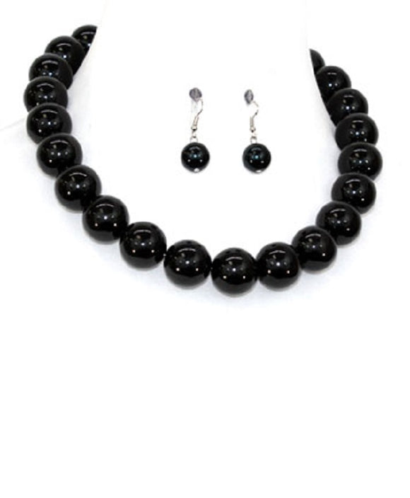 22mm BLACK 1 LAYER PEARL BEADED NECKLACE SET ( 1000 )