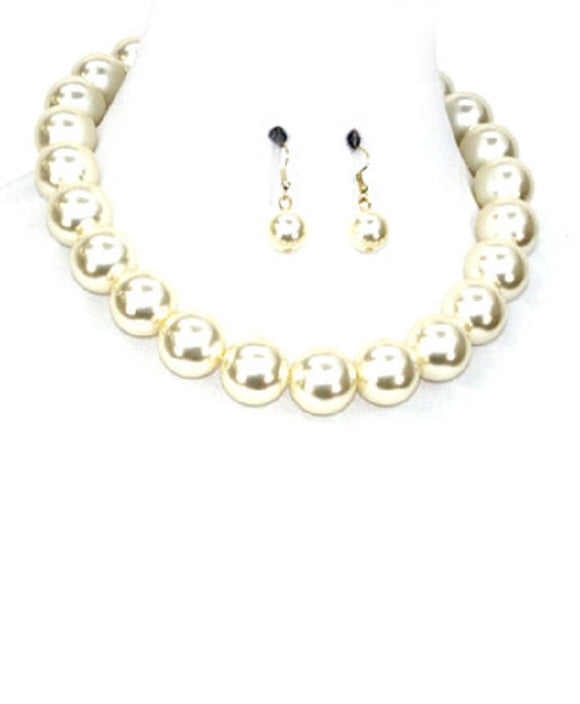 22mm CREAM 1 LAYER PEARL BEADED NECKLACE SET ( 1000 )