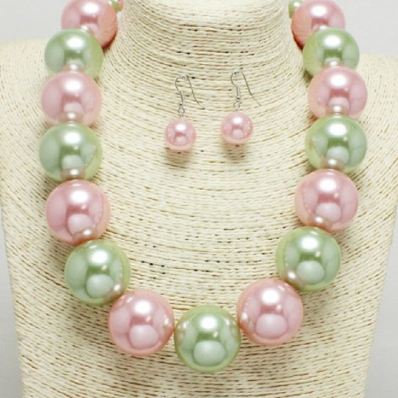 22mm PINK AND GREEN 1 LAYER PEARL BEADED NECKLACE SET ( 1000 )