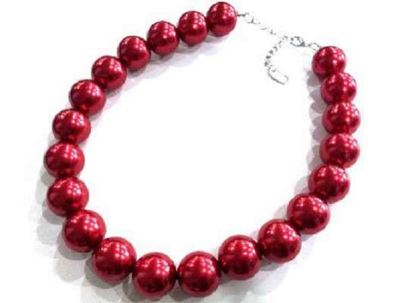 22mm RED 1 LAYER PEARL BEADED NECKLACE SET ( 1000 )