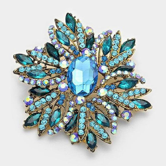 Large Teal and Aqua Blue Rhinestone Brooch ( 1041 )