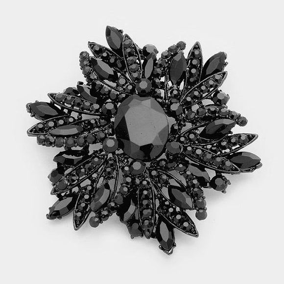 Large Jet Black Rhinestone Brooch ( 1041 )