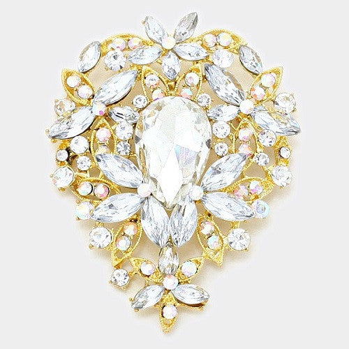 Gold, Clear, and AB Teardrop Floral Rhinestone Brooch ( 1139 )